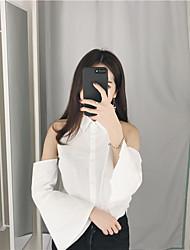 Знак корейский тонкий лацкан без бретелек труба рукав сплошной цвет рубашка женский рубашка с длинными рукавами рубашки