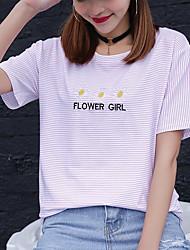 Sinal algodão t-shirt volta pescoço curto parágrafo verão mulheres pinstripe camisa impressão bordado estudantes carregado bottoming