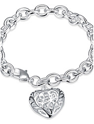 Exquisite Gifts Silver Plated Hollow Big Heart Pendant Chain & Link Bracelets Jewellery for Women Accessiories