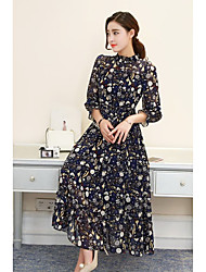 Sign 2017 Spring models female long-sleeved chiffon pleated dress long section of beach dress Floral high waist dress