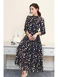 Signe 2017 modèles de printemps femme à manches longues en mousseline de soie plissée robe longue section de robe de plage floral robe