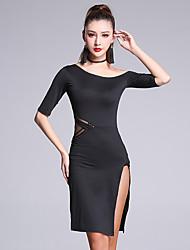 Latin Dance Dresses Women's Performance Milk Fiber Split Front 1 Piece Half Sleeve Natural Dress
