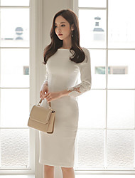 The new ladies solid color package hip lace dress