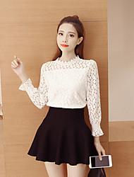 Знак рубашка кружева женская весна новые женщины корейский ярдов рубашка с длинным рукавом рубашки воротник