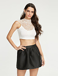 Women's Solid White / Beige / Black Blouse,Round Neck Sleeveless