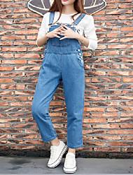 Damen Einfach Hohe Hüfthöhe Micro-elastisch Jeans Overall Skinny Hose einfarbig