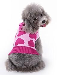 Коты Собаки Плащи Свитера Комбинезоны Одежда для собак Зима Весна/осень Сердца Милые Мода На каждый день Розовый