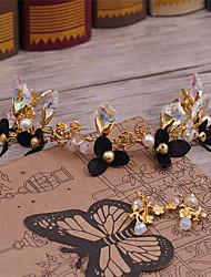 Tecido de liga de cristal headpiece-casamento ocasião especial casuais coroa de flores 3 peças