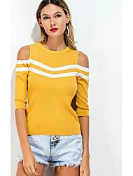 Signo nuevo europeo y americano comercio salvaje hechizo color strapless suéter vacaciones t