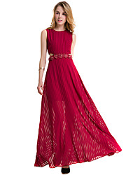 SUOQI Fashion Wild Round Neck Sleeveless Sexy Slim Red Big Swing Long Skirt Party Cocktail Party Holiday Leisure Dress