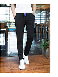 Men's Mid Rise Stretchy Chinos Sweatpants Pants,Active Loose Solid