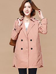 Women's Going out Casual/Daily Simple Spring Trench Coat,Solid Shawl Lapel Long Sleeve Long Cotton