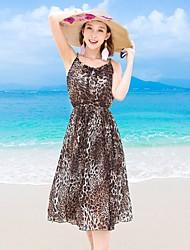 Women's Beach Skater Dress,Floral Halter Above Knee Sleeveless Silk Summer High Rise Micro-elastic Thin