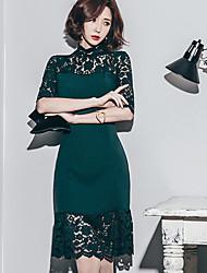 Primavera novo elegante laço sexy costura pacote quadril foi spot vestido fina