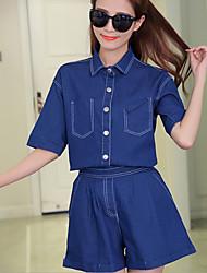 Feminino Camisa Calça Conjuntos Happy-Hour Casual Simples Com Molas Outono,Cor Única Elastano Colarinho Chinês 1/2 de Comprimento de Manga