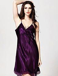 Besonders sexy Anzüge Nachtwäsche,Sexy einfarbig-Polyester Satin Dünn Damen