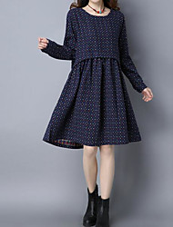 2017 spring new double cotton printed small square yards long section long-sleeved dress