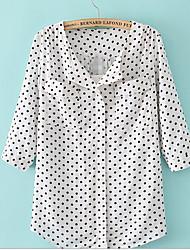 Feminino Camisa Social Casual SimplesEstampado Algodão Colarinho Orifício Manga Longa