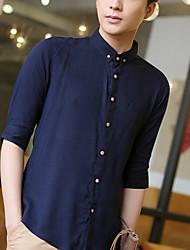 Men's Simple Shirt,Solid Shirt Collar ¾ Sleeve Multi-color Cotton