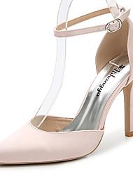 Feminino-Sandálias-D'Orsay Sapatos clube-Salto Agulha-Branco Preto Rosa Claro Azul Real-Seda-Casamento Ar-Livre Escritório & Trabalho