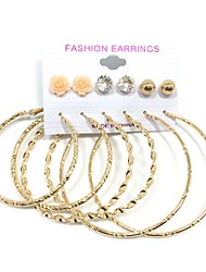 Flower Imitation Pearl Zircon Round Stud Earrings Hoop Earrings Earrings Set Jewelry Dangling Style Multi-ways Wear Wedding Party Daily CasualPearl