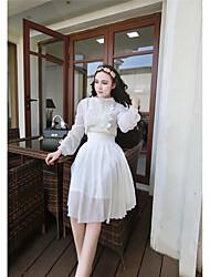signe nouvelle chemise de mousseline de dentelle tempérament + mis mince sur une grande robe en mousseline de soie en deux parties