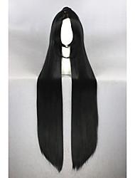 Mujer Pelucas sintéticas Sin Tapa Muy largo Liso Negro Raya en medio Con coleta Peluca de cosplay Las pelucas del traje