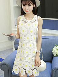 Really making 2016 summer new European and American fashion fresh flowers round neck sleeveless lace dress