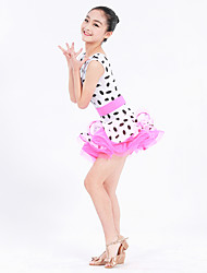 Danse latine Robes Enfant Spectacle Chinlon Elasthanne Organza Ceinture/Ruban Pois Fantaisie 1 Pièce Sans manche Taille moyenne Robe