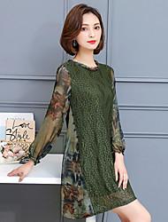 2017 primavera nova versão coreana foi fino e longas seções bottoming rendas chiffon vestido falso dois