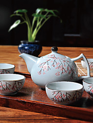 Japanese Plum Blossom Hand-Painted High Temperature Porcelain Tea Set with Pot(600ml) and five Cups(50ml each)