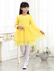 Girl's Casual/Daily Solid Dress,Cotton Spring Short Sleeve