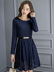 Sign autumn and winter new Korean Women long sleeve lace dress long section plus velvet thick warm base skirt