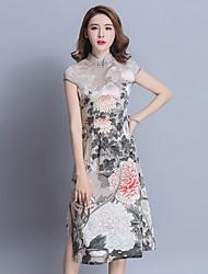 Assinar na primavera e verão 2017 china vento étnica chiffon curto parágrafo cheongsam vestido vintage teatral ms.