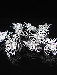 Flower Rhinestone Headpiece-Wedding Special Occasion Casual Office & Career Hair Clip Hair Pin Hair Tool 12 Pieces