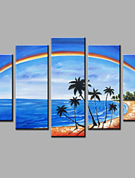 Hand-Painted Rainbow Beach  Landscape Modern Five Panels Canvas Oil Painting For Home Decoration