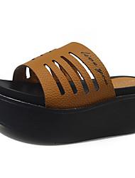 Damen-Sandalen-Outddor Lässig Kleid-Kunstleder-Keilabsatz-Creepers-Weiß Schwarz Gelb
