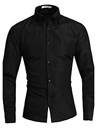 Men's Fashion Casual Solid Color Long-Sleeved Shirt Large Yards