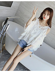 Women's Off The Shoulder Going out Simple Spring Summer Blouse,Solid V Neck ¾ Sleeve Rayon Thin