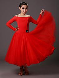 Ballroom Dance Dresses Kid's Performance Tulle Viscose Criss-Cross Tiers 1 Piece Long Sleeve Natural Dress