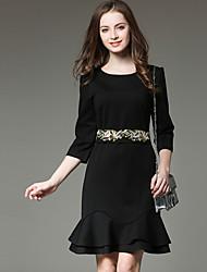 Fashion Round Neck  Sleeve Black Mermaid Dress Embroidered Bow Accept Waist Dresses Temperament Was Thin