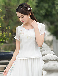 2017 spring and summer new high-grade glass yarn organza embroidered round neck T hit small color fringing activity was thin
