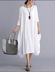 Women's Casual/Daily Simple Tunic Dress,Solid Round Neck Midi Long Sleeve Cotton Spring Summer Mid Rise Inelastic Thin