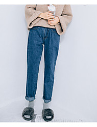 Sign 2017 Korean version of the micro-collapse Clean denim blue jeans was thin straight jeans female wild nine points trousers