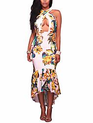 Women's Sexy Beach Boho Sheath Trumpet/Mermaid Floral Strap Asymmetrical Fishtail Sleeveless Dress