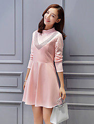 Sign 2016 autumn new collar waist Slim was thin long-sleeved dress bottoming dress hot drilling