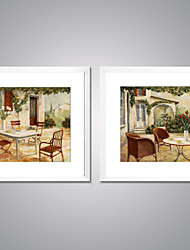Framed Print Abstract Landscape Traditional European Style,Two Panels Canvas Square Print Wall Decor For Home Decoration