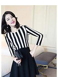 Signe la nouvelle version coréenne de printemps 2017 de la couture à rayures en noir et blanc mince