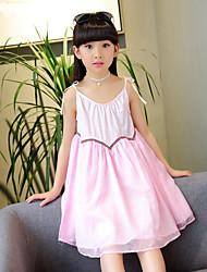Girl's Beach Solid Dress,Cotton Polyester Summer Sleeveless