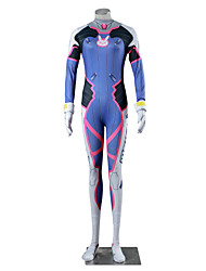 Inspired by Overwatch D.Va Video Game Cosplay Costumes Cosplay Suits Color Block White Blue Long Sleeve Leotard Gloves